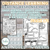 Distance Learning Reading Response (Any Novel) 4 Week PACK #1