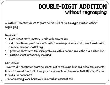 Double Digit Addition without Regrouping | Activity Set | Kindness Math