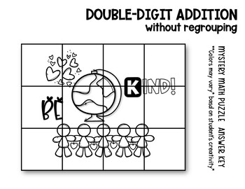 Double Digit Addition without Regrouping | Kindness Math | Math Mystery Puzzle