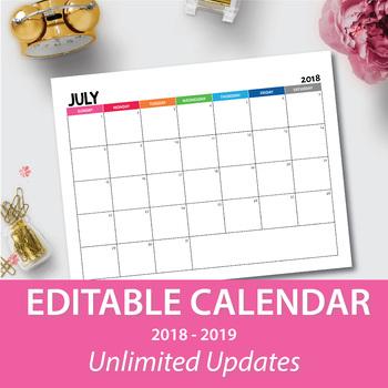 Monthly Calendar 2018-2019 EDITABLE - LIFETIME UPDATES