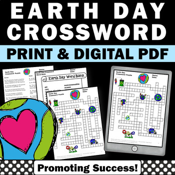 Earth Day crossword puzzle for kids elementary worksheets