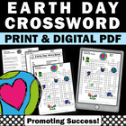 Earth Day Crossword Puzzle Worksheet for Environmental Science Activities