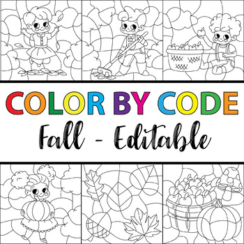Color by Code Fall (Clipart Bundle Editable)
