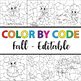 Color by Code Fall (Clipart Bundle Editable), Color by Number Fall