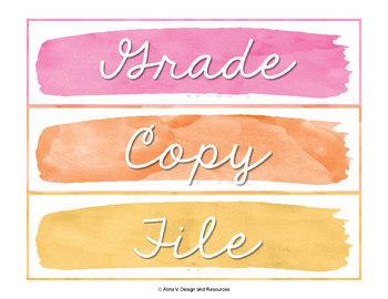 Editable Sterilite Labels -  Watercolor Classroom Decor