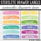 Sterilite Drawer Labels EDITABLE, 10 drawer Cart Labels Editable, Watercolor