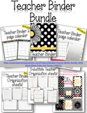 Editable Teacher Binder Bundle 2018 - 2019  {Black White P