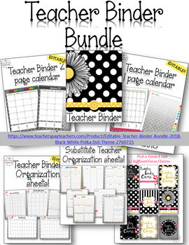 50% OFF!!  Editable Teacher Binder Bundle {Black & White P