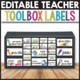 Teacher Toolbox Labels Editable - Classroom Decor Editable Labels