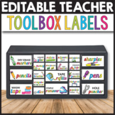 Teacher Toolbox Labels Editable, Classroom Decor Editable