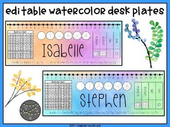 Editable Watercolor Desk Plates