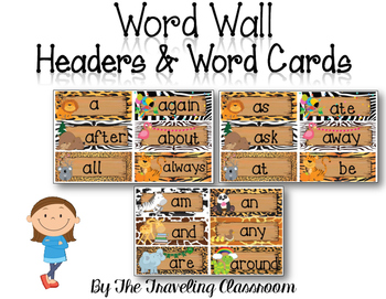 Editable Word Wall Headers & Word Cards {Jungle Zoo Safari Theme}
