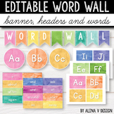 Editable Word Wall Letters Watercolor Classroom Decor