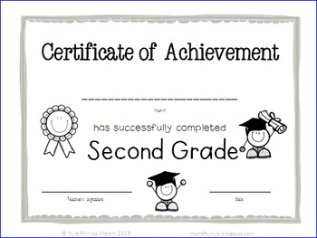 End of Year Certificates - 2nd Grade