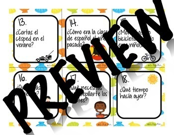 48 Spanish 2 Review Conversation Cards (Summer Edition) | Back to School