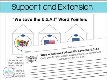 We Love the USA! ~ Building Sentences