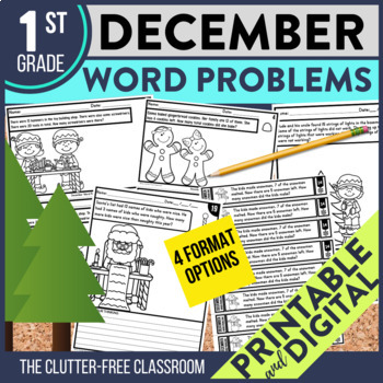 50% OFF FIRST 24 HOURS - DECEMBER WORD PROBLEMS 1st Grade