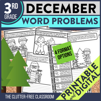 50% OFF FIRST 24 HOURS --> DECEMBER WORD PROBLEMS 3rd Grade