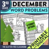 DECEMBER WORD PROBLEMS 3rd Grade