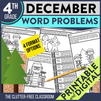 50% OFF FIRST 24 HOURS --> DECEMBER WORD PROBLEMS 4th Grade
