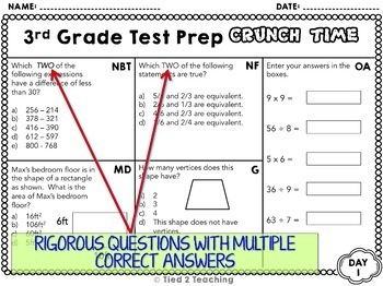 Test Prep 3rd Grade Math for Google Classroom