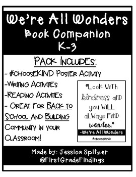 We're All Wonders Book Companion Pack K-3 Back to School Community Building