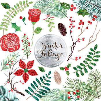 Winter Flower and Foliage Clip Art