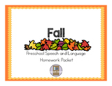 Fall Preschool Speech and Language Homework