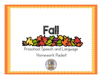 Fall Preschool Speech and Language Homework