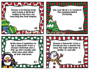 Library Activity Task Cards- Christmas Themed