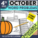 4th Grade October Word Problems printable and digital math