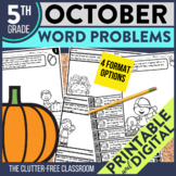 5th GRADE OCTOBER WORD PROBLEMS