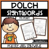 Worksheets for Pre Primer Dolch Sight Words