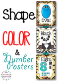 Shapes, Colors, & Number Posters  {Jungle Zoo Safari Theme}