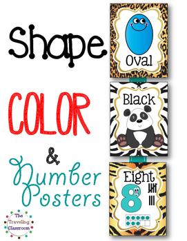 Shapes, Colors, & Number Posters  {Jungle Zoo Safari Theme}