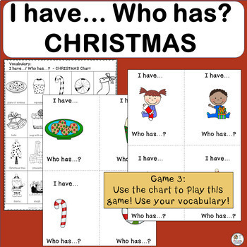Vocabulary: I have… /Who has…? CHRISTMAS Game for Primary Students