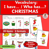 Vocabulary Activities: I have… /Who has…? CHRISTMAS  (SASSOON Font)