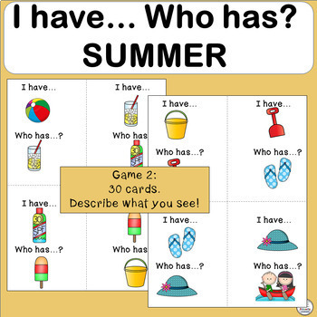 Vocabulary: I have… /Who has…? SUMMER Game for Primary Children