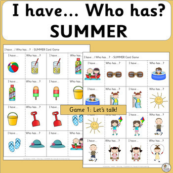 Vocabulary Activities: I have… /Who has…? SUMMER  (SASSOON Font)