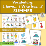 I Have Who Has Games with Summer Pictures  | SASSOON Font