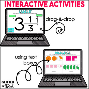 Mixed Numbers & Improper Fractions for Google Drive & Google Classroom Math