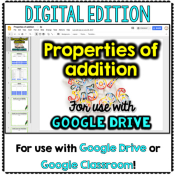 Properties of Addition for Math Google Drive & Google Classroom