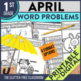 1st Grade April Word Problems printable and digital math a