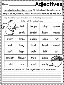 First Grade Math Worksheets and Literacy Worksheets - Fall Packet