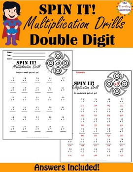 Fidget Spinners Timed Multiplication Tests Quizes -  Double Digit