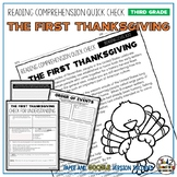 First Thanksgiving Reading Comprehension Passage and Questions