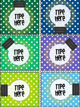 Editable Polka Dot Light Bulb Labels-Printable  Gift Tags