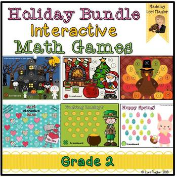 Holiday Bundled Interactive Math Games 2nd Grade Edition