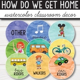 How do we get home Chart - Watercolor Classroom Decor