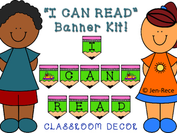 I CAN READ Banner Kit - LIME GREEN and PINK PENCILS